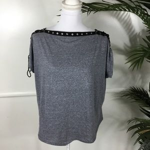 Fashion Nova Gray Black Boat Neck Lace Tee Medium
